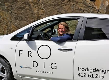 STILIG: Yvonne Breen er svært fornøyd med Frodig hagedesign sin logo.